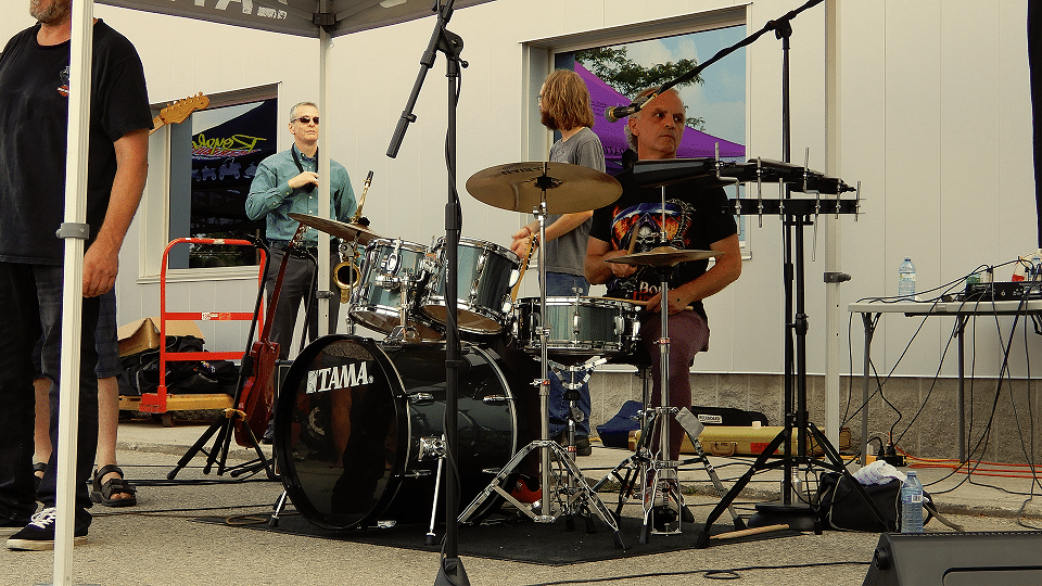Xristopher Bland plays drums at Royal Distributing – Royal Bike Night 2019.