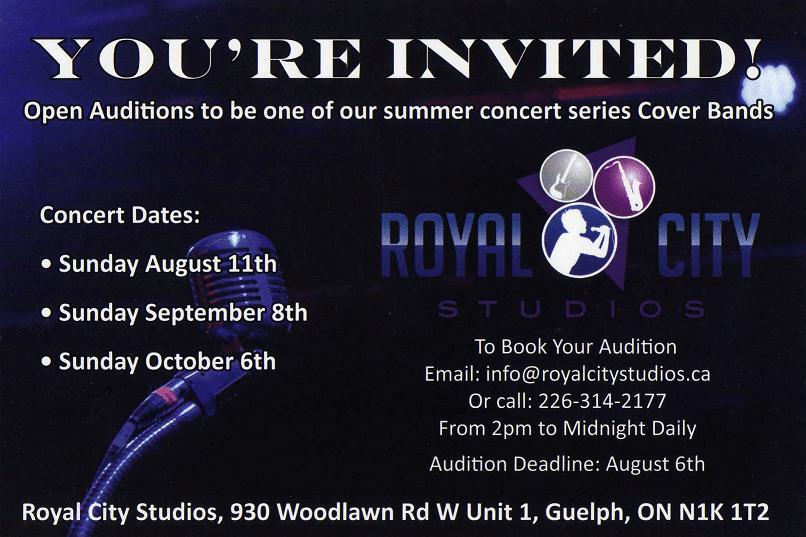 Cover bands wanted for summer concert series.
