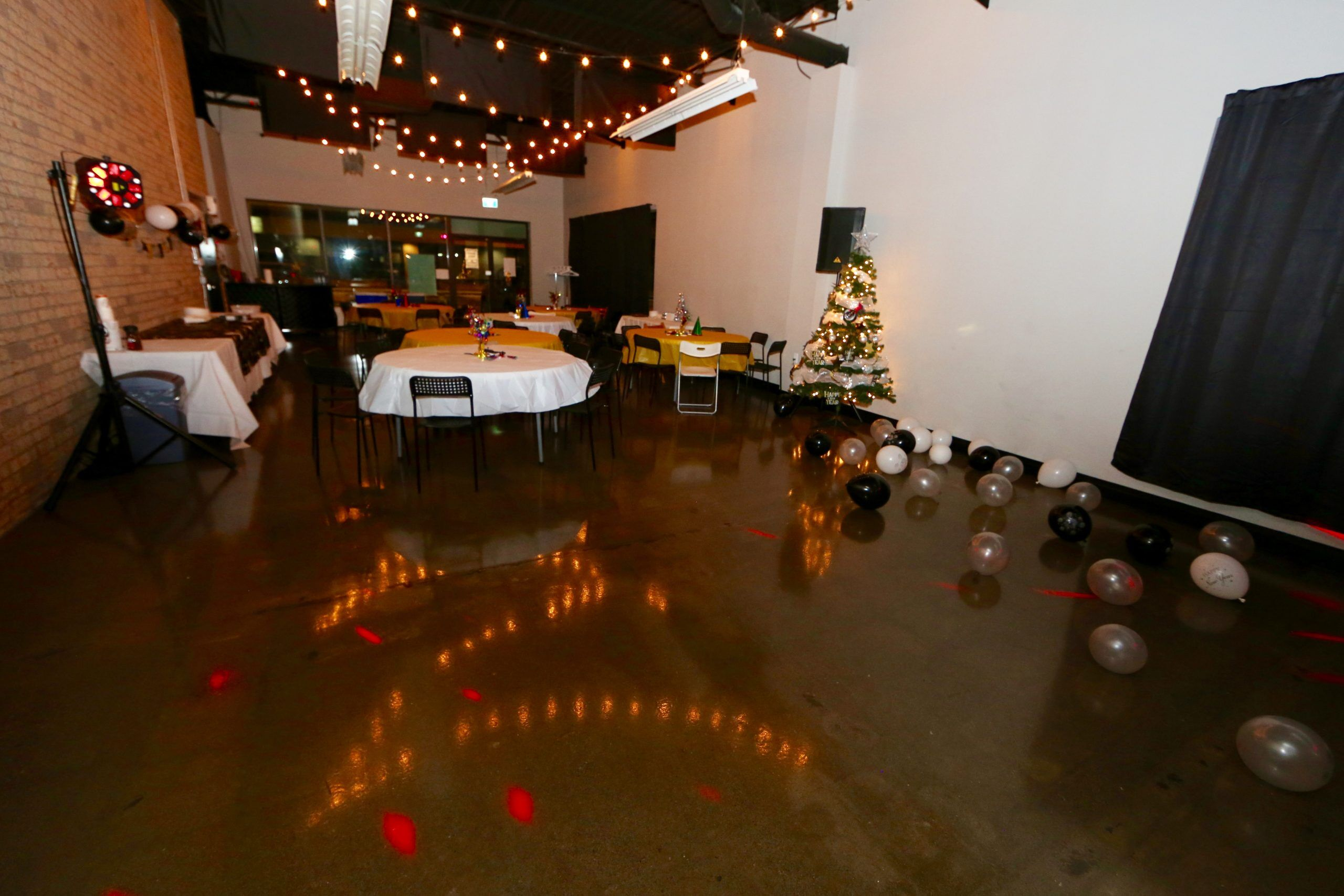 Christmas party setup in Event Hall