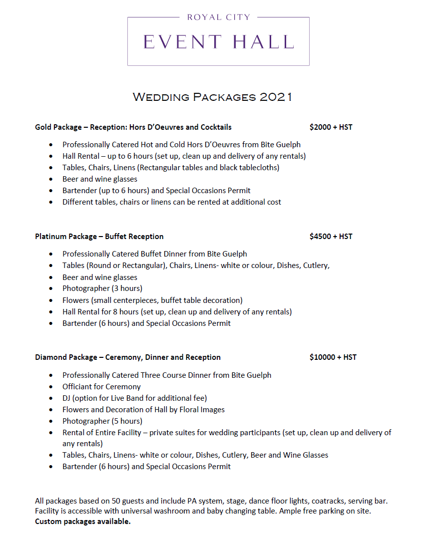 Wedding Package Pricing - Click to download PDF
